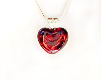 Romantic RED HEART Jewelry Pendant Necklace, Fused Art Glass, Special Love Keepsake Gift for Birthday or Anniversary, Silver Plated,