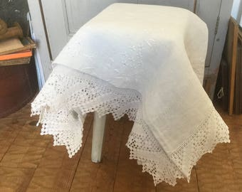 French vintage large sheet in linen with handmade embroideries and lace, 19th sheet in colour putty