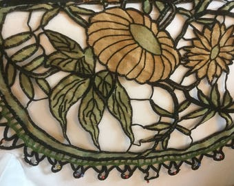 French vintage Cushion top, Doily with entirely handmade embroideries and glass beads