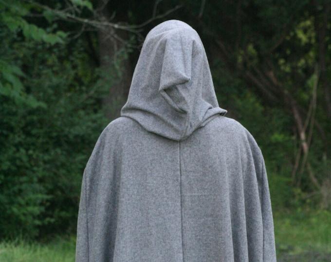 Gray/Black Herringbone Hooded Cloak - Adult size, Flannel