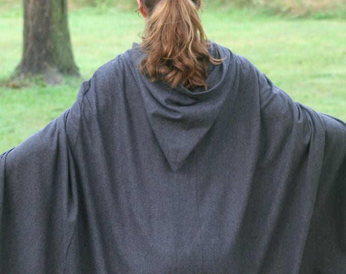 Hooded Hobbit Style Cloak, Dark Gray/Black Herringbone flannel