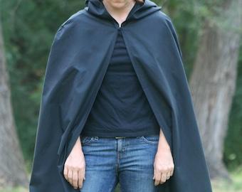 Black Hooded Cloak - Adult size