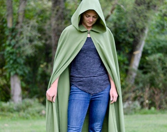 Olive Hooded Cloak - Linen, Adult size