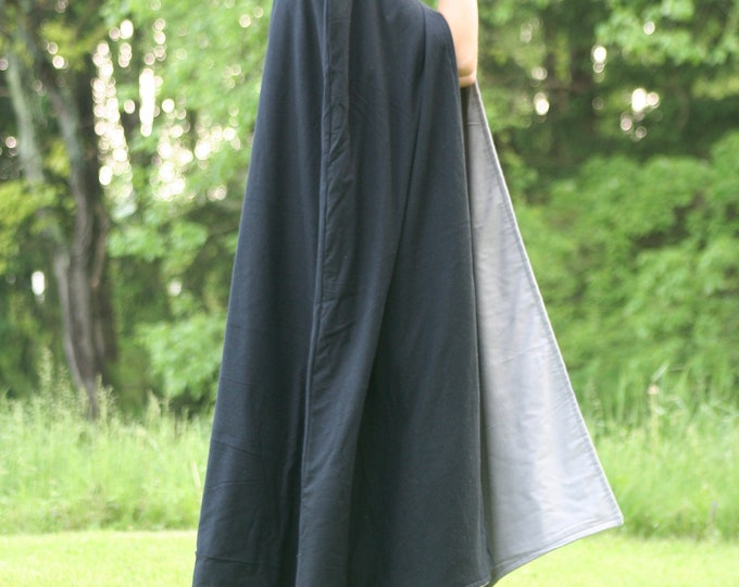 Black/Gray Reversible Hooded Cloak