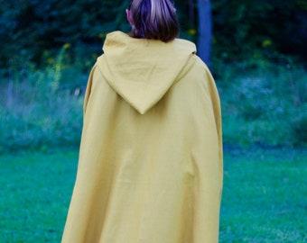 Gold Linen Cloak - Hooded