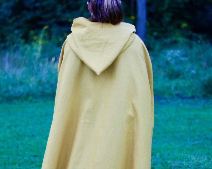 Golden Yellow Hooded Cloak - Linen, Adult size