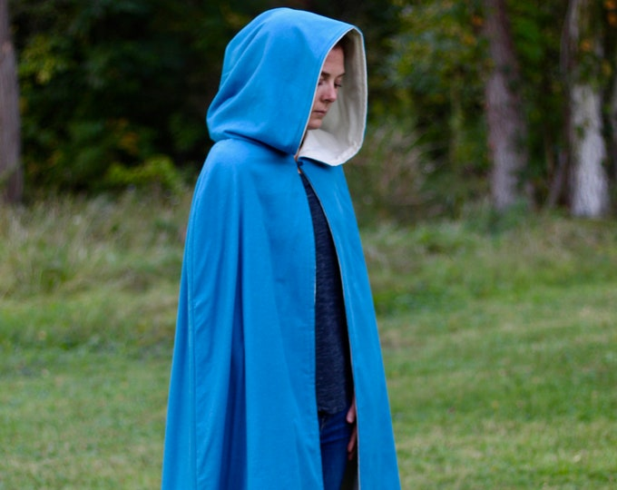 Blue/Cream Reversible Hooded Cloak