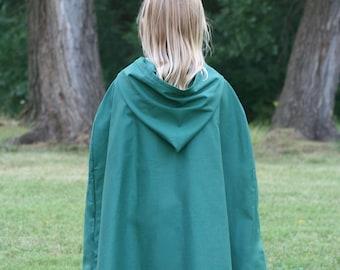 Dark Green Hooded Cloak - Youth size