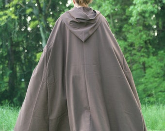 Brown Hooded Cloak - Linen, Adult size