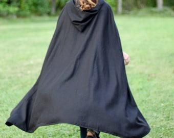 Black Hooded Cloak - Linen, Adult size