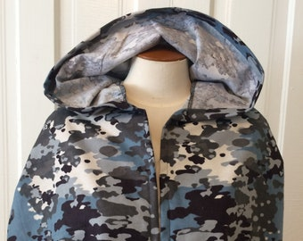 Gray, Blue and White Camo Hooded Cloak (youth size) - Limited Edition**