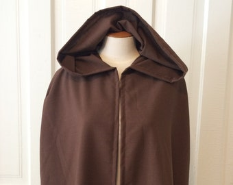 Dark Brown Hooded Cloak, Linen-look - Limited Edition**