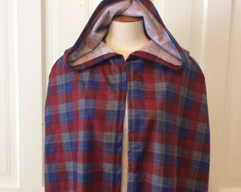Clearance** Blue, Red and Gray Plaid Hooded Cloak
