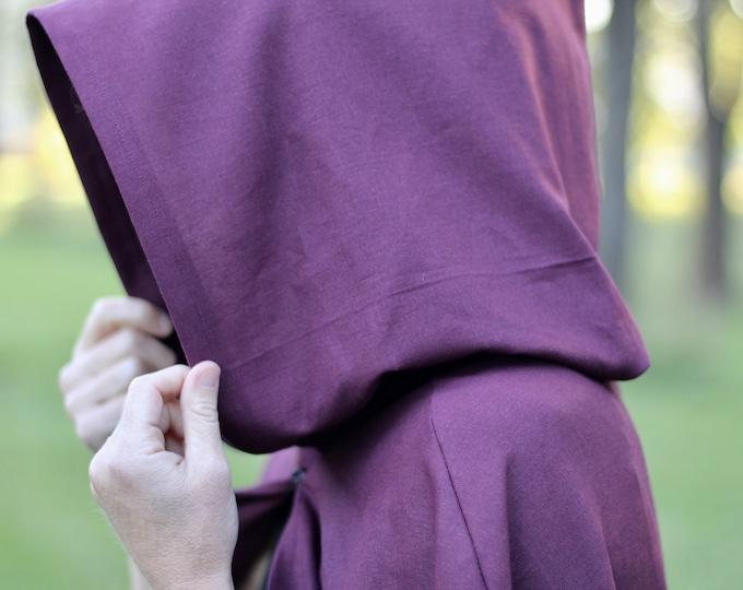 Deep Purple Hooded Cloak - Linen, Adult size