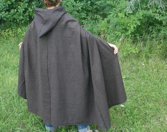 Hooded Hobbit Style Cloak, Brown/Black Herringbone flannel, Adult size