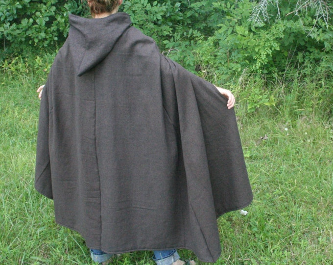 Brown/Black Herringbone Hooded Cloak - Adult size, Flannel