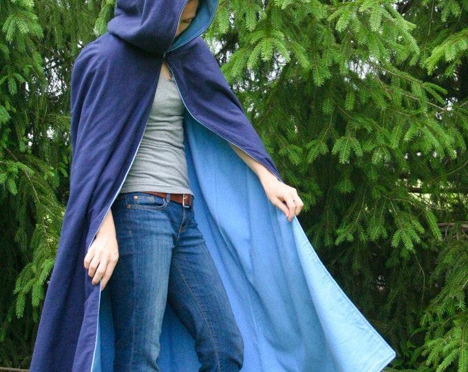 Navy/Light Blue Reversible Hooded Cloak