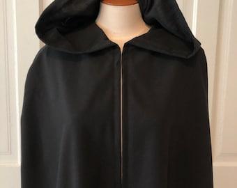 Black Hooded Cloak, Linen - Limited Edition**