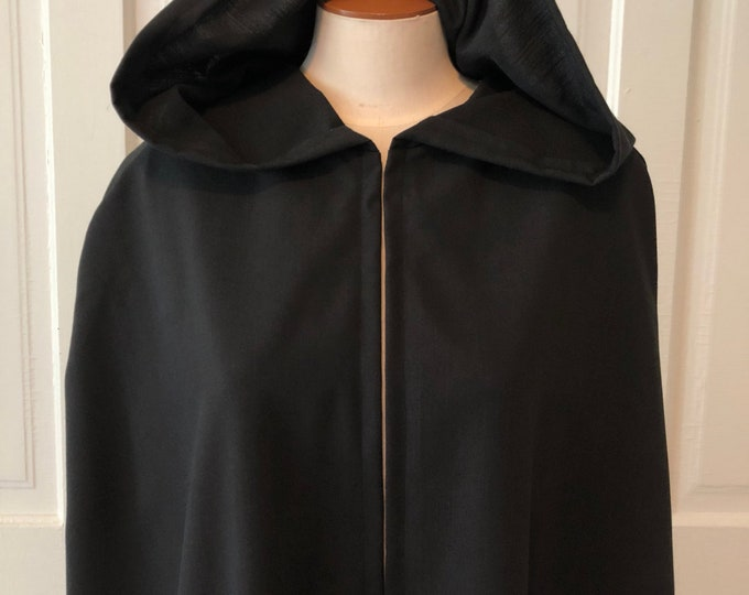 Black Hooded Cloak - Linen, Adult size