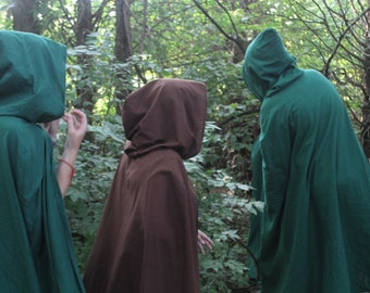 Dark Green Hooded Cloak - Adult size