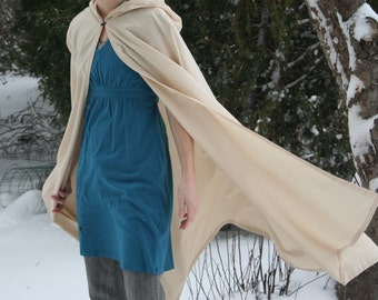 Cream Hooded Cloak - Adult size