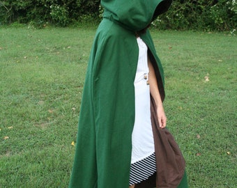 Brown/Green Reversible Hooded Cloak