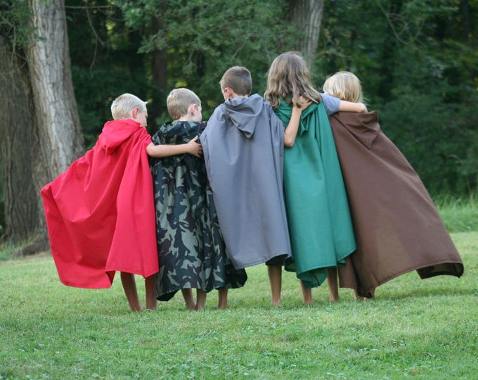 Clearance ** Hooded Cloak - Youth, Dark Green - Slightly Imperfect