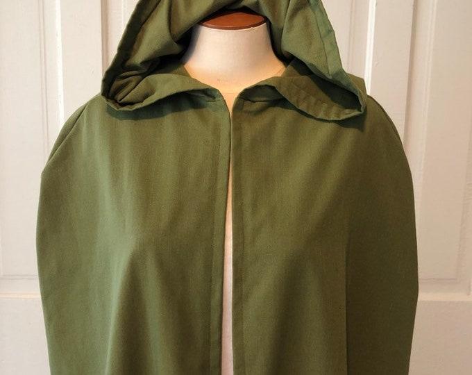 Olive Hooded Cloak - Linen, Adult size