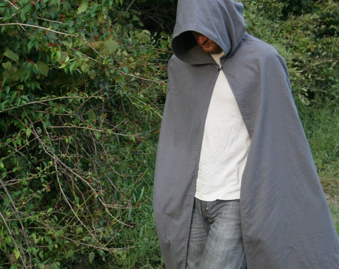 Dark Gray Hooded Cloak - Adult, Flannel