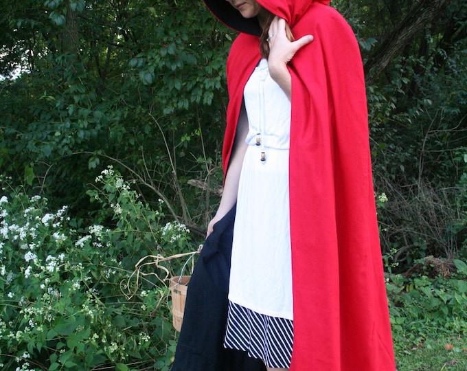 Red/Black Reversible Hooded Cloak
