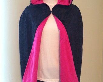 Clearance *** Black/Hot Pink Capelet - Crushed Velvet and Flannel