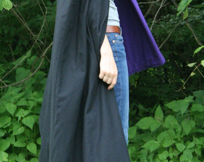 Black/Purple Reversible Hooded Cloak