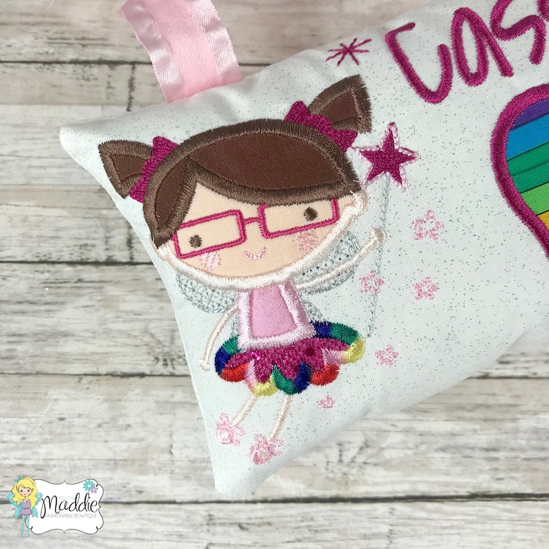 Personalized Tooth Pillow Tooth Fairy Pillow Tooth Fairy with Glasses Girls Tooth Pillow Tooth Pillow Rainbow Girl Tooth Fairy Pillow
