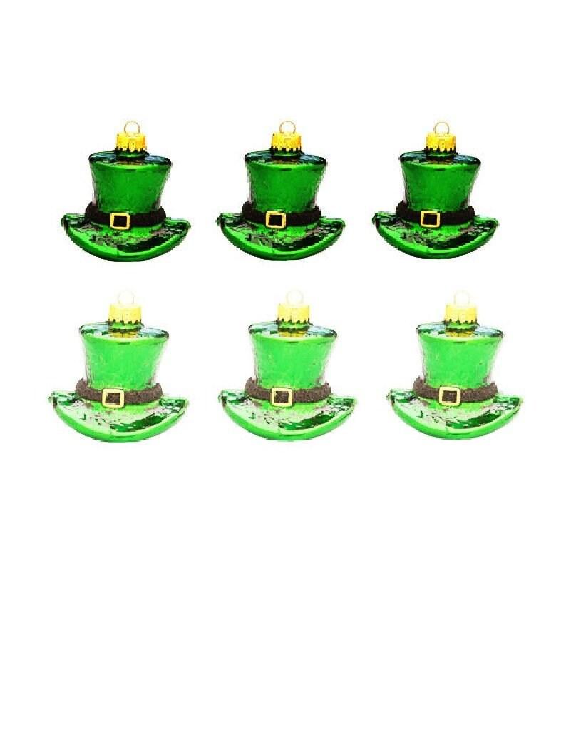 """Patrick/'s Irish Hat Ornaments 1.75/"""" tall x 2.5/"""" wide shatterproof 6 pc St"""