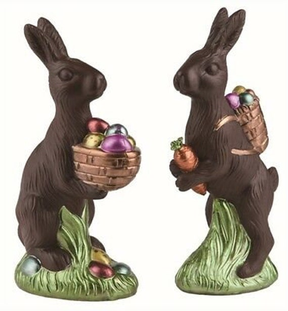 """PAIR Easter Faux Classic Chocolate Bunny Rabbit w// Basket of eggs Decoration 8/"""""""