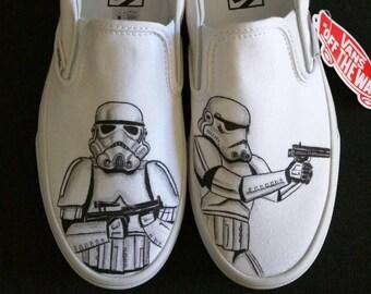 ffe4aa810f2 Star Wars Stormtrooper Galactic Empire Custom Hand Painted Vans Slip ons