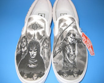 f5afdc7f884a Lord of the Rings Custom Made Shoes Featuring Legolas and elfin script  around shoes ARTWORK and SHOES INCLUDED