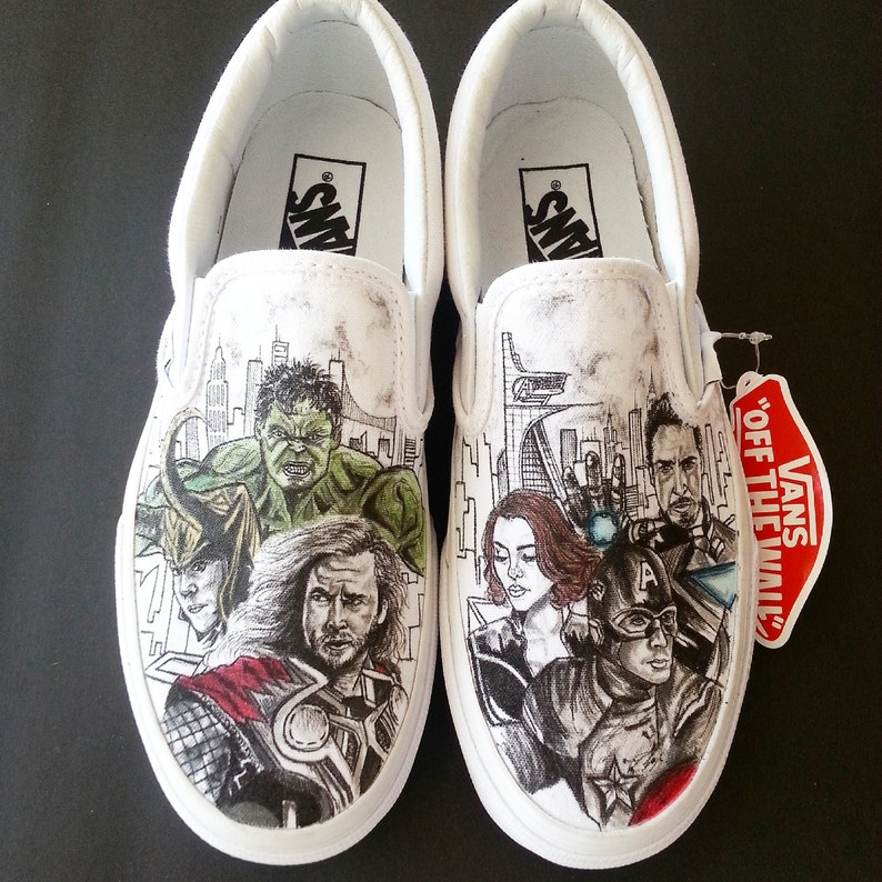 446388cb63a9 Avengers comic themed shoes with Hulk Black Widow Nighthawk