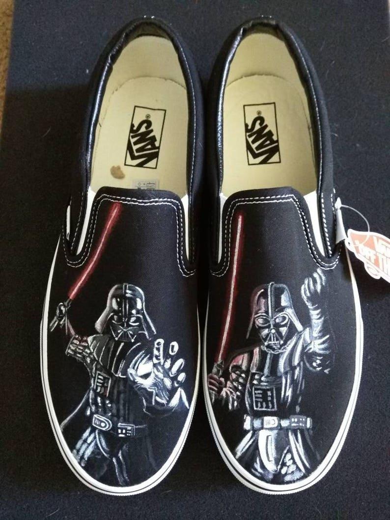 cfd12b02af Star Wars Darth Vader the Dark Side Vans Slip On Hand painted
