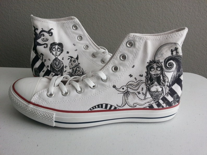 3c025ef98b636 Tim Burton themed Nightmare Before Christmas, Corpse Bride, Beetlejuice,  Alice in Wonderland, Frankenweenie shoes ARTWORK and SHOES INCLUDED