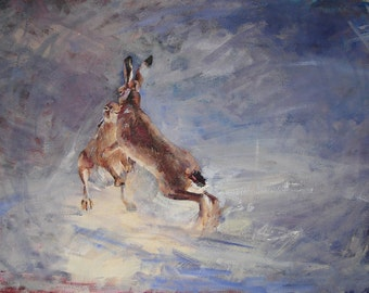 FINE ART PRINT A2 size 'Boxing Hares' By Laura Andrew, Signed by artist. wildlife, nature. painting.