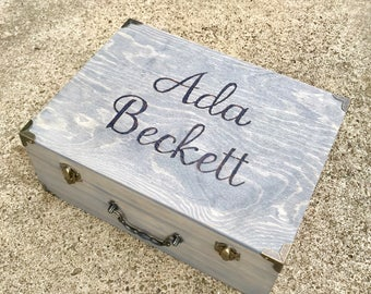Keepsake Box, Vintage Style Suitcase Box, Bridesmaid Box, Will You Be My Bridesmaid, Maid of Honor, Flower Girl