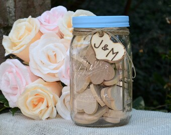 Guest Book Mason Jar for 50-100 guests, Date Night Jar, Advice for the Bride, Love Note Jar