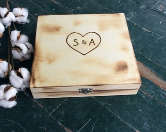 Letter Box/Keepsake Box with Heart and Initials