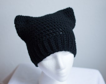 0c28608c07e26 Black Pussycat Hat. Cat Hat. Pussy Hat. Black Pussy Hat. Women s March Hat. Pussy  Hat for Women s March. Ready To Ship