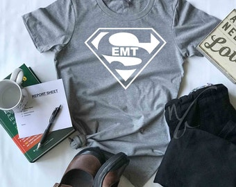 4efcefa8dbb79 Super EMT Shirt, T-Shirt for Emergency Medical Tech, For Work, Gift for  Him, Gift For Her, SoftTees, Health Care, EMT T-shirt