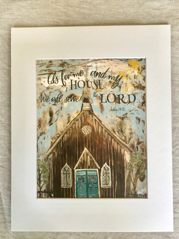 Church Painting Words As For Me And My House Church Etsy