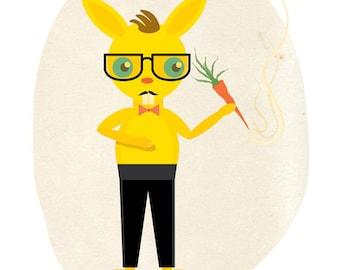 Giclee Wall Art Bunny Rabbit Tuxedo Print 8x10: What's up Gentlemen