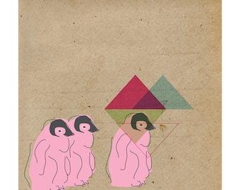 Contemporary Art Print, Penguins Geometric, 9x9 Giclée Print, Wall Decor, Animal Home Decor