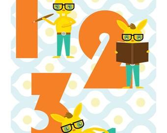 Counting Nursery Art Print, Bunny Wall Art, Numbers, 123 (8x10), Wall Print, Children's Art, Nursery Modern Prints, Giclée